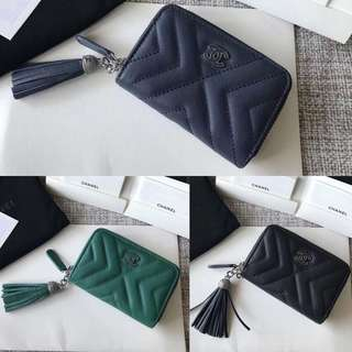 Chanel Calfskin Silver-Tone Metal Small Zipped Wallet