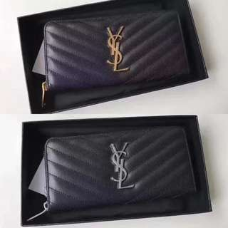 Saint Laurent Zip Around Wallet Matelasse Leather
