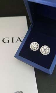 1 carat round diamond each, earring Hermes Cartier Birkin Kelly