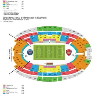 A pair of Cat 1 tickets for ICC Arsenal vs PSG on Sat 28 July for sale