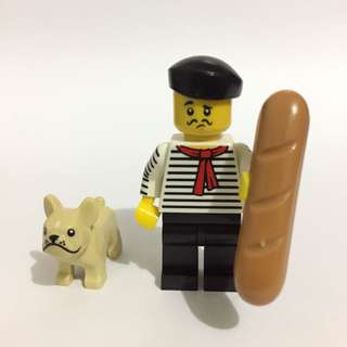 Connoisseur with baguette and dog