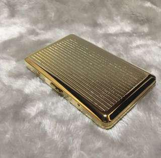 Classy Gold Metal Cigar Cigarette Case With Inlay Design