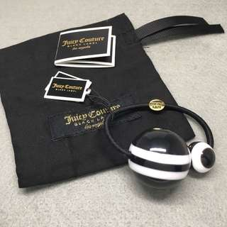 Juicy Couture Sample Hair Band 黑色白色大小波波橡筋手鏈 配有原裝說明書和防塵袋