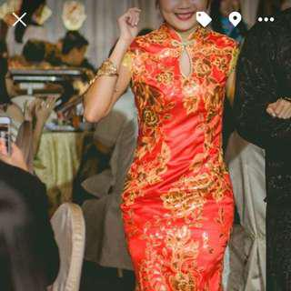 Chinese style CheongSam red Fish Tail Dress with gold sequins