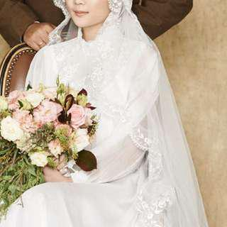 Vintage style white dress with veil