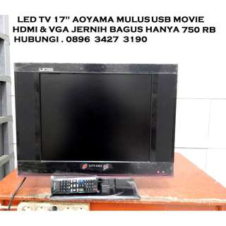 "Led Tv 17""AoYama Sudah Hdmi & Usb Movie VGA ada Mulus Katapang SoReaNG"