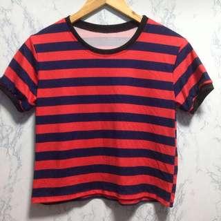 Stripes semi crop top / ringer top