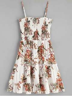 ZAFUL White Floral Smocked Ruffle Mini Slip Dress