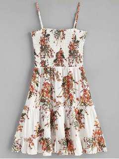ZAFUL White Floral Smocked Ruffle Mini Slip Dress