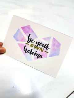 Motivation Watercolour Calligraphy Card