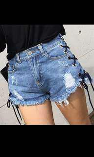 lace up denim high waisted shorts