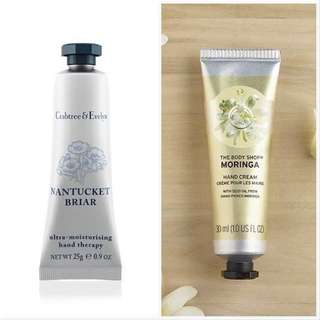 ONE SET ONLY! [Free Shipping] 2 For $6 Crabtree & Evelyn Nantucket Briar Hand Therapy Cream & The Body Shop Moringa Hand Cream
