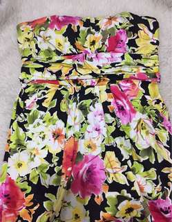 Strapless Bow Dress in Floral Prints