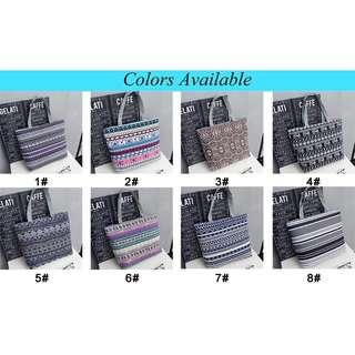 Traditional pattern printed design canvas shoulder bag