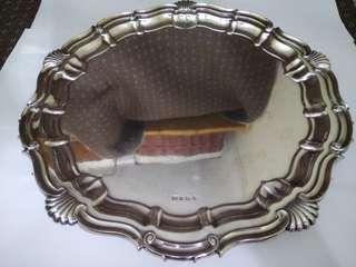 UK Antique 1931 Sterling Silver Heavy Tray/Salver/Dish, EV (Edward Viner Bath Street Sheffield), 41cm diameter, 4.3cm tall, 1552.8g, (Traditional Tray/ Piecrust Style Tray/ Large Size Tray) 英國古董純銀大圓托盤/盤子/碟子/桌盤/銀盤