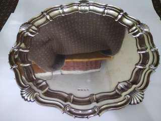 UK Antique 1931 Sheffield English Sterling Silver Heavy Tray/Salver/Dish, EV (Edward Viner Bath Street Sheffield), 41cm diameter, 4.3cm tall, 1552.8g, (Traditional Tray/ Piecrust Style Tray/ Large Size Tray) 英國古董純銀大圓托盤/盤子/碟子/桌盤/銀盤/銀碟 (實用+裝飾擺設+掛畫)