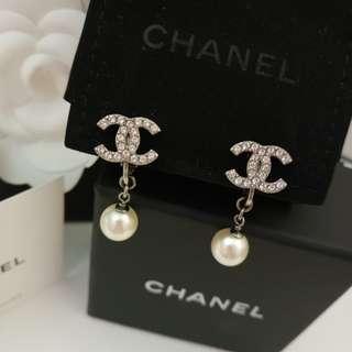 Chanel cc logo 珍珠 耳環 earrings 夾耳環 full set