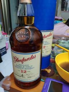 1公升格蘭花格12年43%威士忌1000ml連盒。