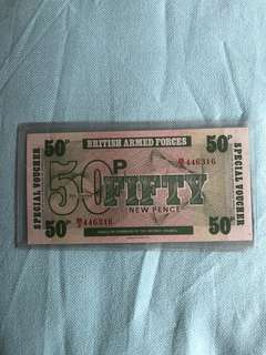 1972 50pence British Armed Forces special voucher
