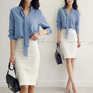 Tie Front Formal Blouse