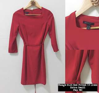 Mango Suit Red 3/4 Fitted Dress
