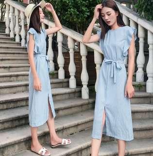81886 #大碼新款收腰前開叉連身裙  颜色:藍色  尺码:4XL 3XL 2XL XL L