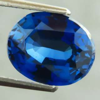 🚚 4.40 Cts Royal Blue Sapphire Lab Created Oval 8.8 x 11 mm