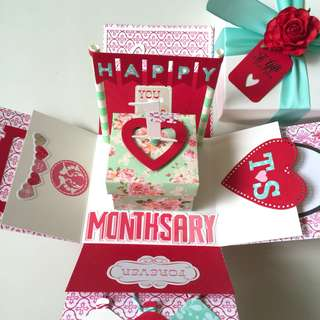 Happy 1st Monthsary Handmade Explosion Box Card
