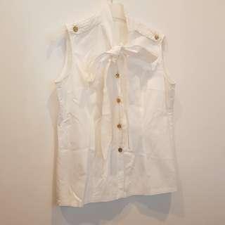 White Bow Sleeveless Top