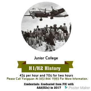 H1/H2 History Private Tuition 1-1