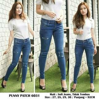 Jeans wanita PUNNY PATCH 6031 celana jeans wanita jeans ripped jeans