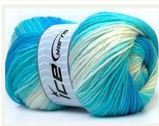 White & Turquoise Yarn