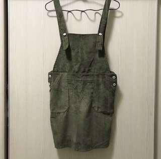 🚚 墨綠色 吊帶短裙