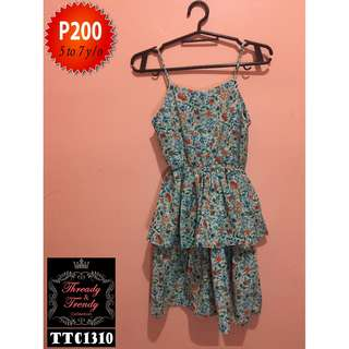 Floral spaghetti dress with ruffles
