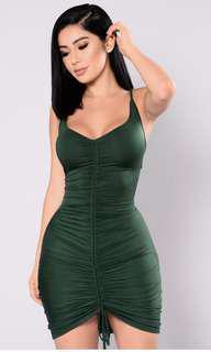 FASHION NOVA HUNTER GREEN RUCHED DRESS