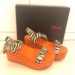 全新 Millies platform sandal shoes orange zebra pattern 高跟厚底涼鞋斑馬紋 歐美增高鞋 summer flat platform