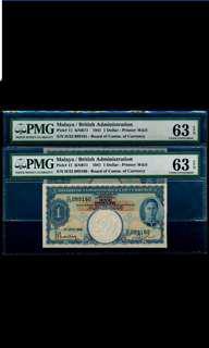 A pair of Malaya 1941 KGVI $1 PMG 63 Choice UNC EPQ