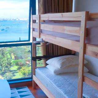 Wooden double deck bed frame with one mattress