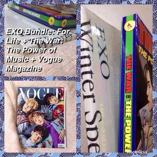 REPRICED EXO Bundle! Free Shipping Includes EXO Winter Special Album 2016: For Life + The War: Power of Music Repackage + Vogue Magazine