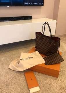 Louis Vuitton Neverfull MM damier bag and pochette