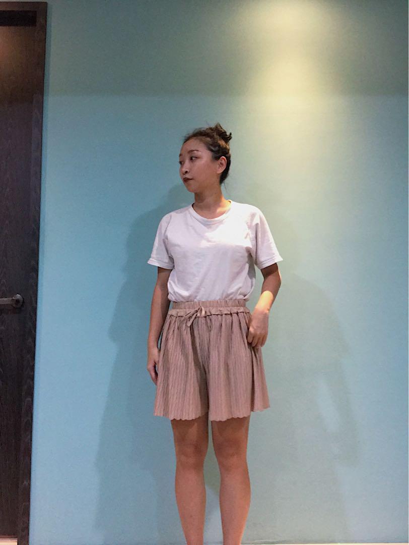 杏色伸縮褲裙