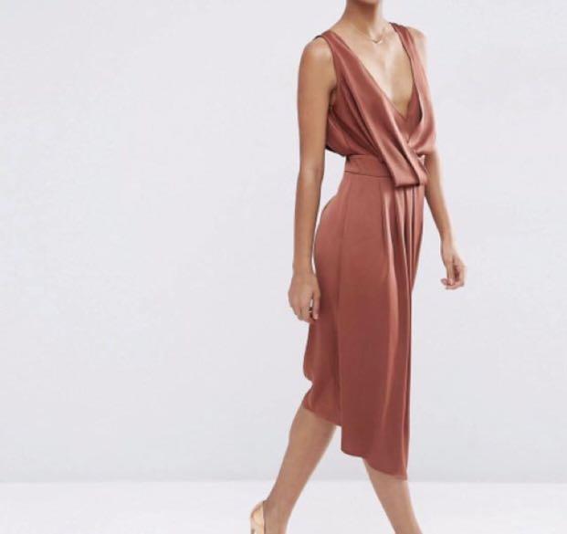 dc820ffe2849 ASOS drape front midi dress, Women's Fashion, Clothes, Dresses ...