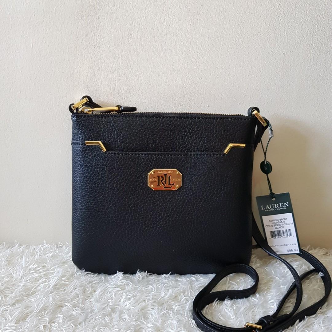 bec7ed2bf489 Authentic Ralph Lauren RLL ACADIAII CROSSBODY BAG IN BLACK
