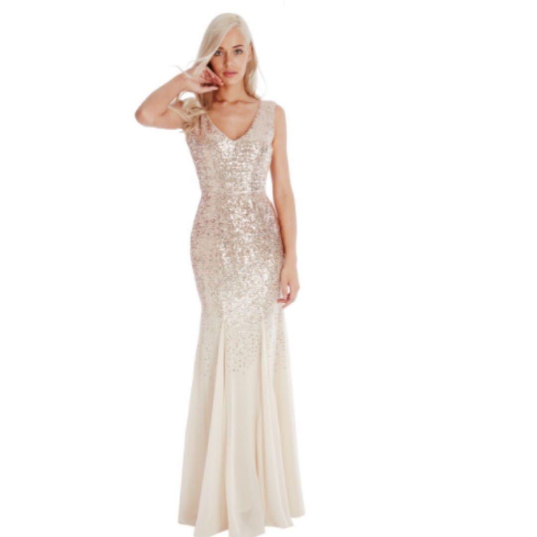 6ed6b0306e3f Goddiva Sequin and Chiffon Maxi Dress, Women's Fashion, Clothes ...