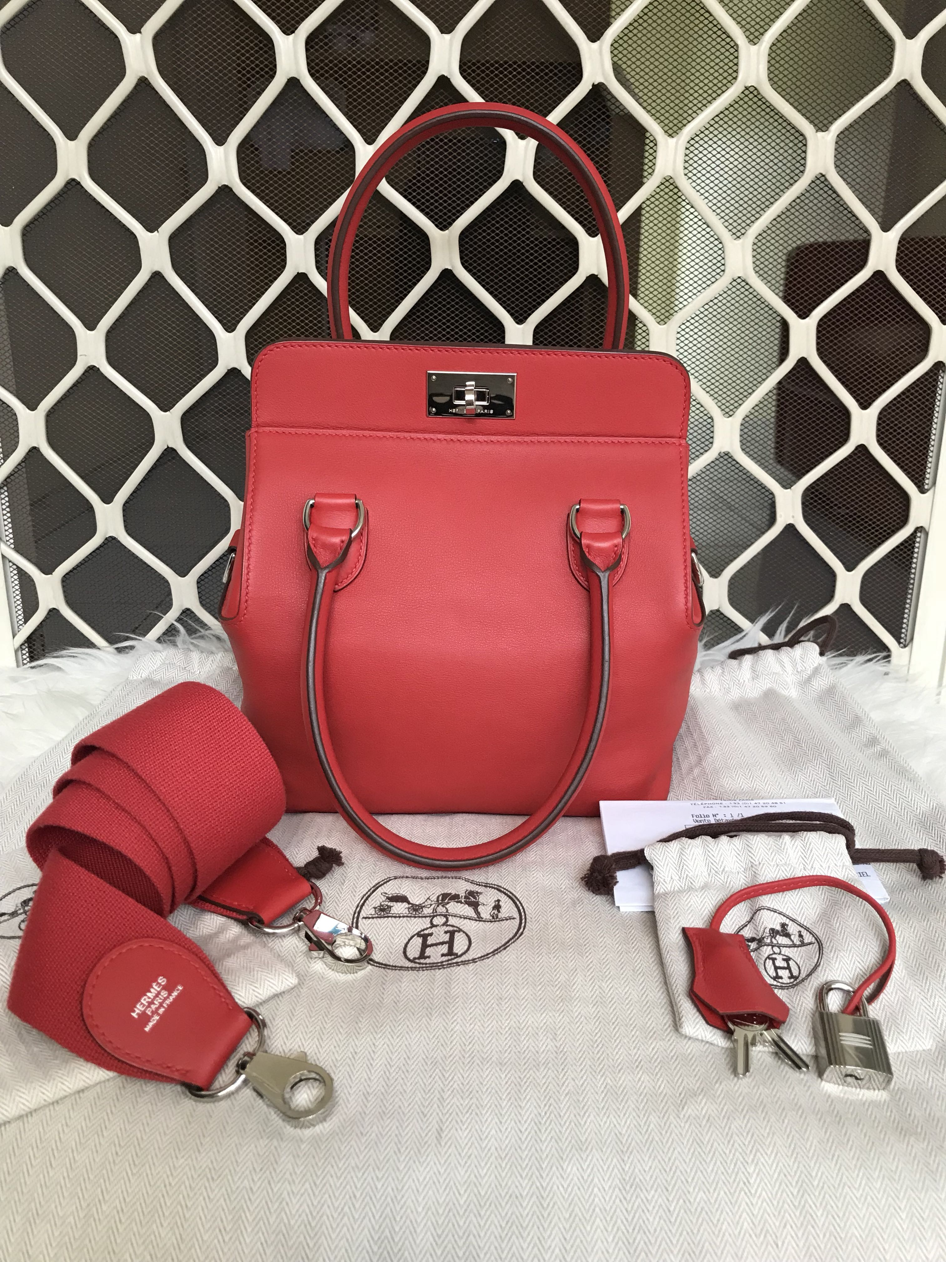 Hermes TB 20 / toolbox 20 red tomate swift # x, Luxury, Bags