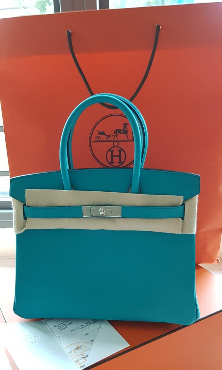 b2e52587342c Hermès Birkin 30 Bleu Paon PHW Epsom Stamp C BNIB Full set with ...