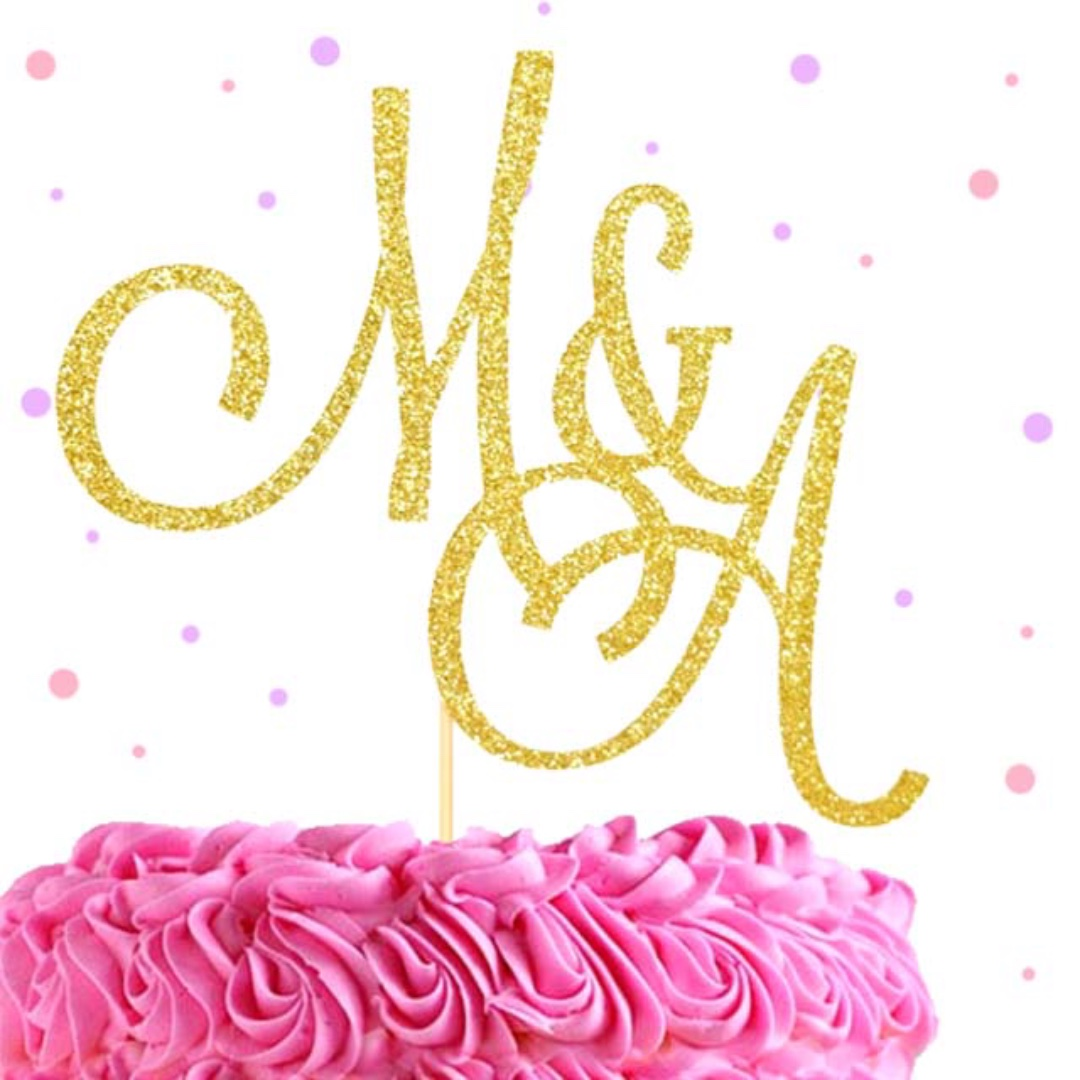 Name Initials Cake Topper, Wedding Cake Topper, Customized Cake ...