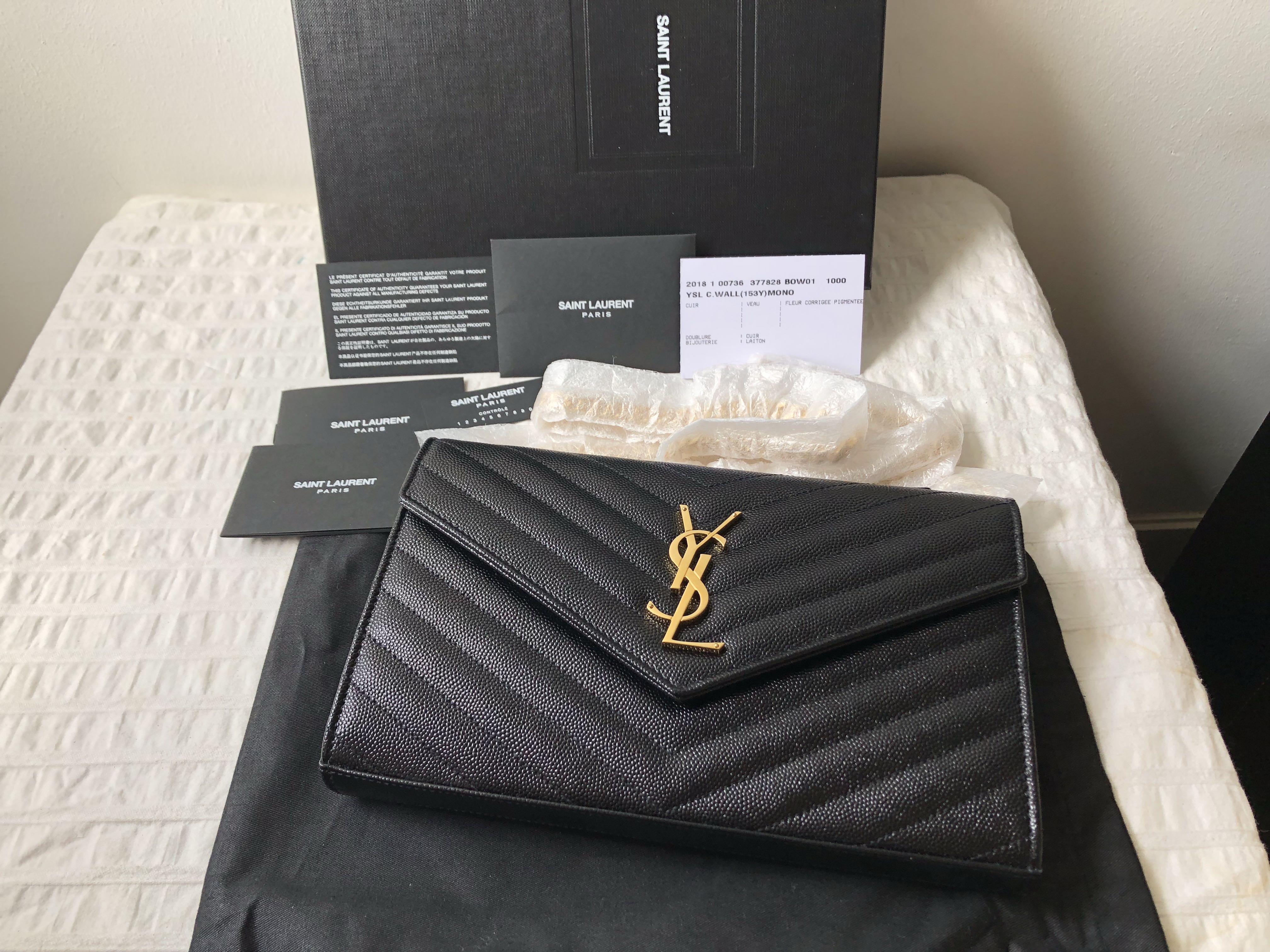 1dfa0a98fef2  New  Authentic Large Saint Laurent YSL Wallet On Chain WOC GHW  Reserved