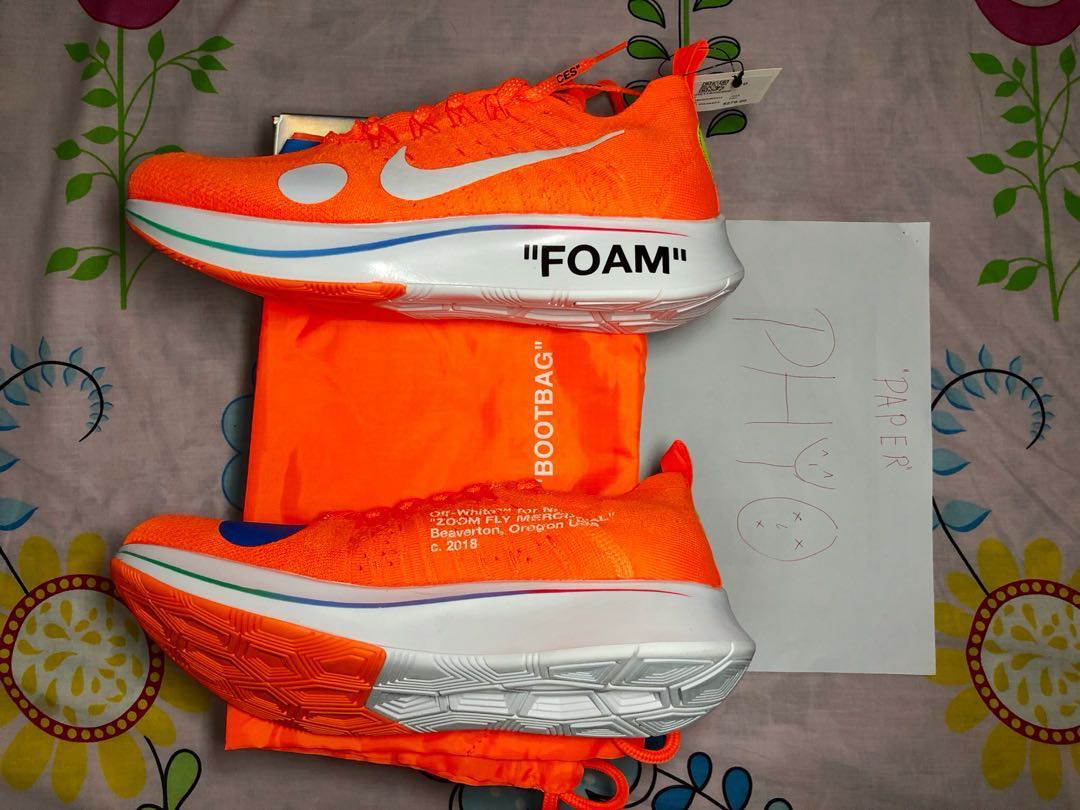 79451e2a2a67 Off White x Nike Zoom Fly Mercurial Orange, Men's Fashion, Footwear ...