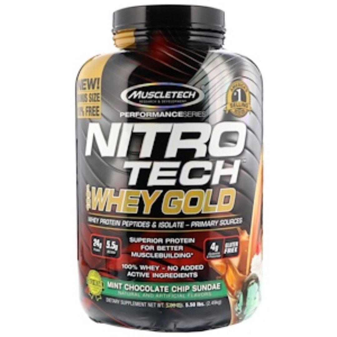 Sale Muscletech Nitro Tech 100 Whey Gold Mint Chocolate Chip Nitrotech Ripped 4lbs 4 Lbs Protein Photo